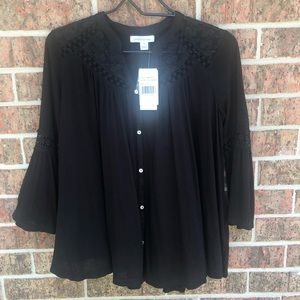 NWT Black boho embroidered bell sleeved
